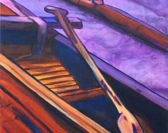 Hawaiian Koa Canoe - 8 x 10 Giclee Print - Kauai Art - Hawaiian Paddling - Hawaii Voyaging Art - Outrigger Canoe - Hawaiian Paddlers