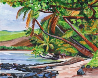 Makaweli Tropical Landscape print 8x10 from Kauai Hawaii beach ocean sand