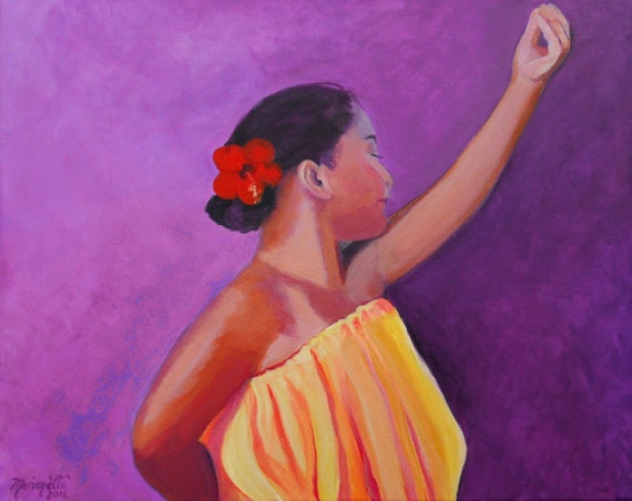Hula Girl art, Hawaiian art, Kauai original paintings, dancing hula girl,  hawaiian hula dancer, Purple Yellow, Hawaiian interior design