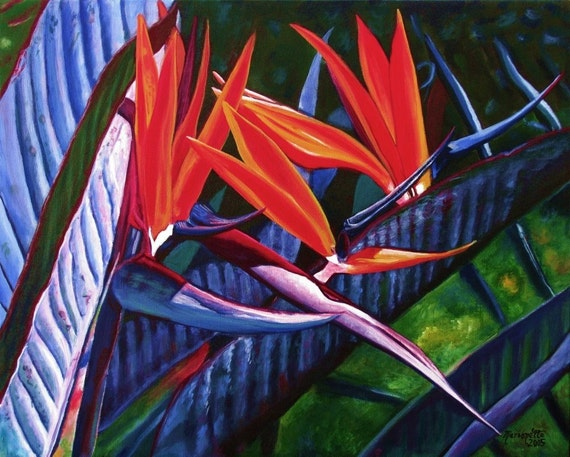 Bird of Paradise art print 8x10 from Kauai Hawaii Passion for Paradise orange blue periwinkle