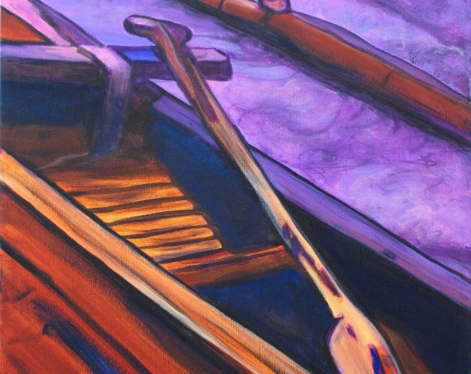 Hawaiian Koa Canoe - 8 x 10 Giclee Print - Kauai Art - Hawaiian Paddling - Hawaii Voyaging Art - Outrigger Canoe - Hawaiian Paddlers