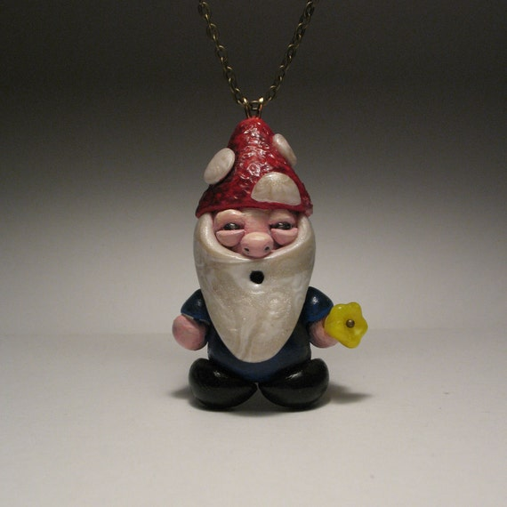 Gnome Buddy Loves You Necklace - Whimsical, Fantasy, Sculpture