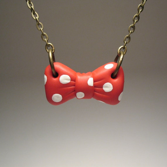 Red and White Polka Dot Bow Necklace