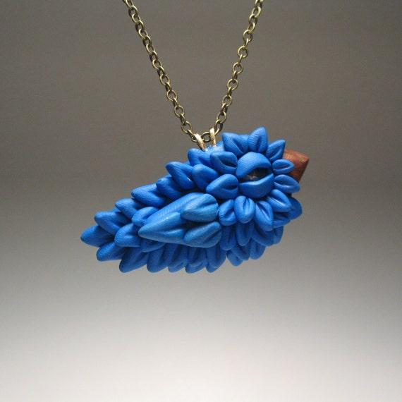 Baby Bluebird Necklace - OOAK, Polymer Clay, Bird