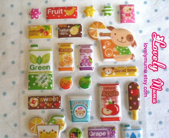 Cute Puffy Food Stickers Green