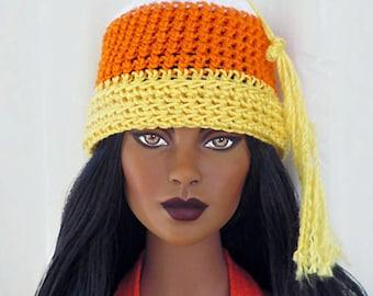 "1/4 Scale Candy Corn Crochet Hat for 16"" Dolls - White, Orange, Yellow"
