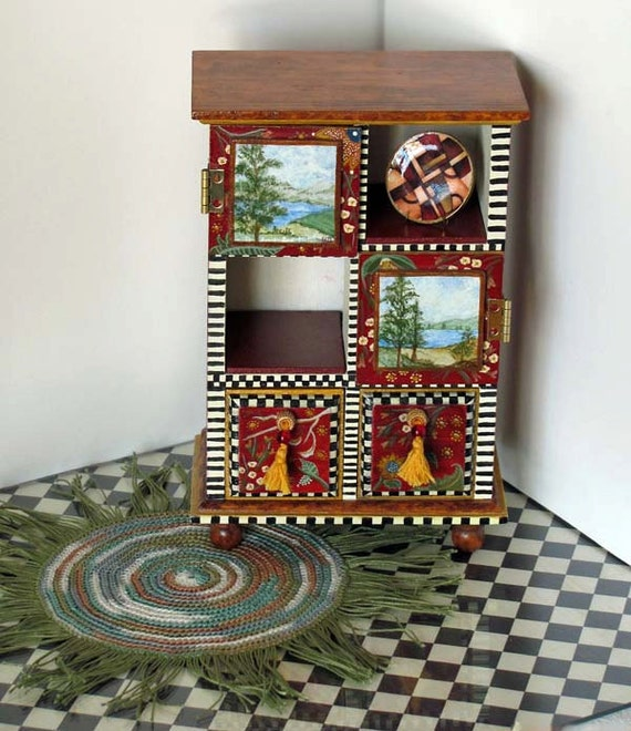 Hand Painted Chest & Crochet Rug Ecclectic Cottage Chic for 1/6 Scale Dolls