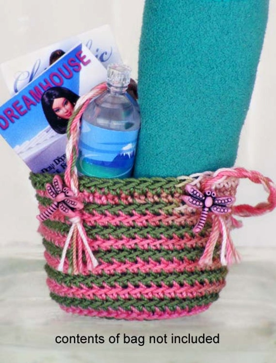 Dragonfly BEACH BAG Crochet Roomy Tote for 1/6 Scale Dolls - Variegated Thread in Pink, Green, Tan