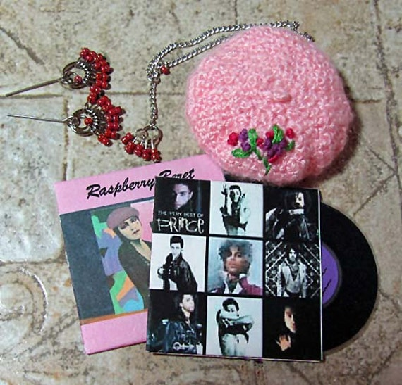 Raspberry BERET Set with Jewelry and Miniature Prince Record Albums