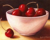 Bowl of Cherries Colored Pencil on Pastelbord