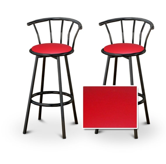 2 24 Red Vinyl Black Swivel Bar Stools Barstools Chairs