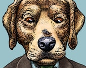 "William Golding Retriever- 8"" x 10"" Golden Retriver Art- Dog as Author William Golding- Lord of the Flies"