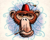 "Fez Monkey- 8"" x 10"" Whimsical Monkey Wearing A Fez- Monkey Wall Decor"