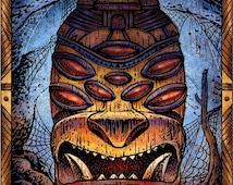 Spider Tiki- Tiki Art Print- Tiki Wall Decor