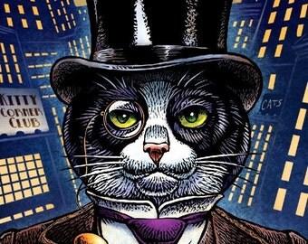 "Sophisti-cat- Tuxedo Cat Print 8"" x 10""- Cat Art Print- Cat Wall Decor- Cat Wall Art- Cat Print- Cat Gift"