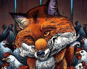"""Fox in the Hen House- 8"""" x 10"""" Whimsical Fox Art Print- Fox Wall Decor"""
