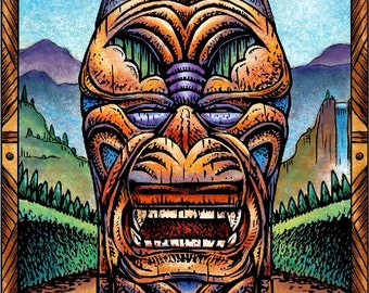 """Wolf Tiki- 8"""" x 10"""" Tiki Wall Decor"""