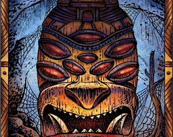 Spider Tiki- Tiki Art Print- Tiki Wall Decor