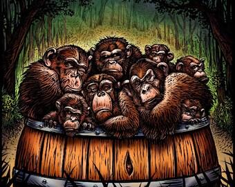 "Are We Having Fun Yet- 8"" x10"" Whimsical Monkeys in a Barrel Art Print"