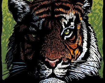"Tiger 8"" x 10"" Art Print- Mysterious Tiger Portrait- Tiger Wall Decor"