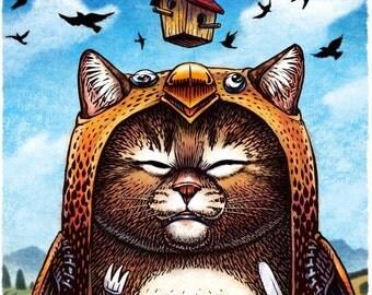 """The Trojan Bird- 8"""" x 10""""- Cat Art Print- Cat Wall Decor- Cat Wall Art- Cat Print- Cat Gift"""