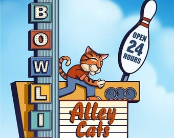 Bowling Alley Cats Googie Sign