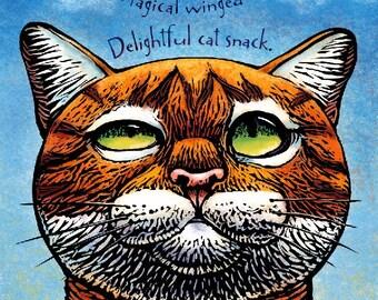 """Magical Snack- 8"""" x 10""""- Cat Art Print- Cat Wall Decor- Cat Wall Art- Cat Print- Cat Gift"""
