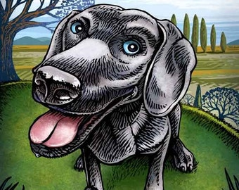"Weimaraner- 8"" x 10""- Whimsical Dog Art Print- Dog Wall Decor- Dog Wall Art- Weimaraner Art- Dog Print"