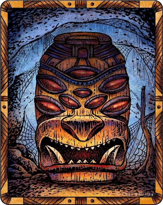 Spider Tiki Tiki Art Print Tiki Wall Decor