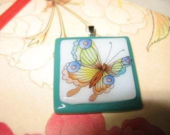 Colorful Butterfly Fused Glass Pendant