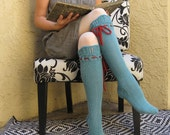 Knee High Socks Turquoise Merino Wool Lace with Red Ties hand knit
