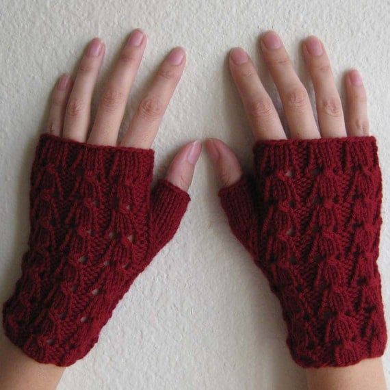 fingerless gloves hand knit red hot lace
