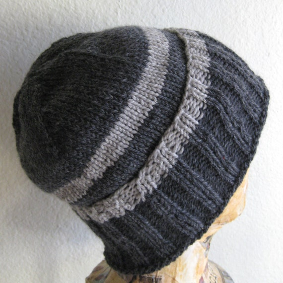 Hat Merino Wool Grey Stripes Hand Knit