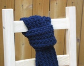 FREE SHIPPING Knitted Scarf Navy Blue - Ahoy - Ready to Ship