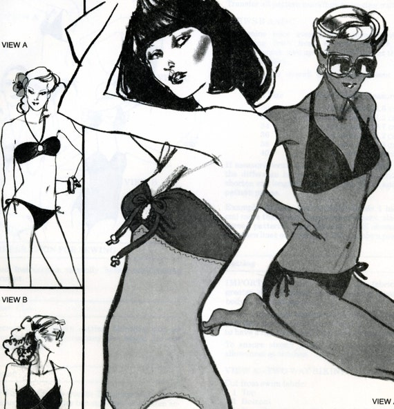 Stretch and Sew 1340 Two Way Bikini and Swimsuit Uncut Vintage Sewing Pattern 1979