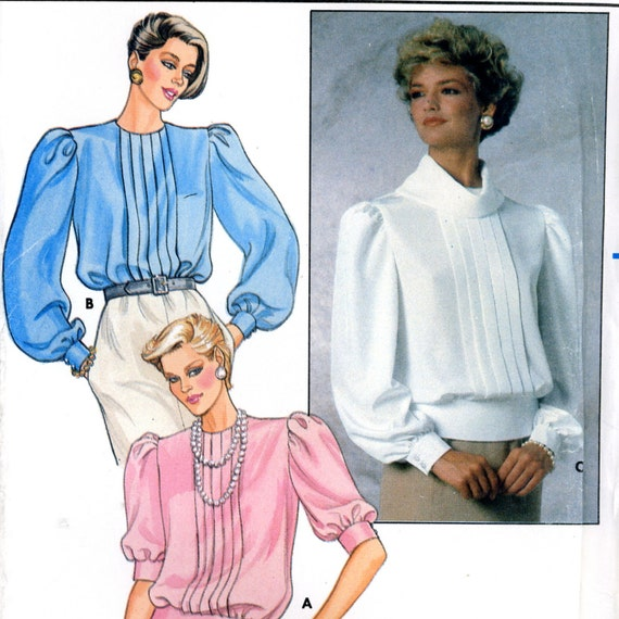 Butterick 6957 Front Tuck Bottom Banded Blouse Top, Size 8 10 12, Uncut Sewing Pattern