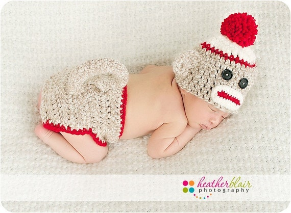 Sock monkey Hat and Diaper Cover Newborn