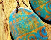 Aoi Turquoise and Gold Oval Tribal Earrings
