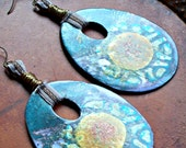 SADIA - Large Primitive Tear-Shaped Batik-ed Earrings