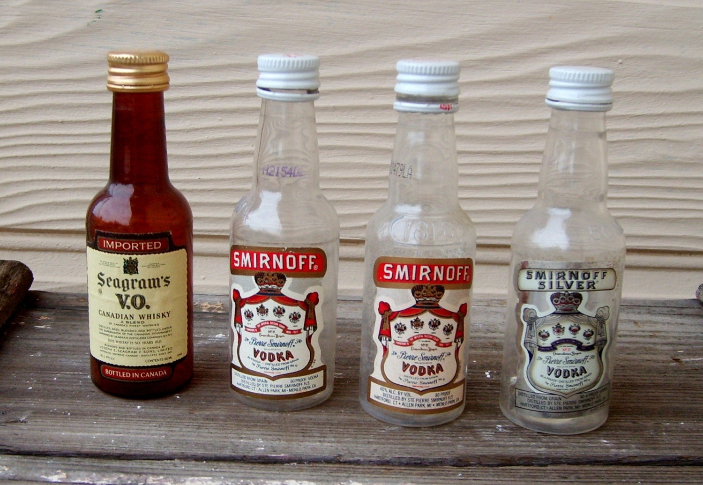 4 empty plastic miniature liquor bottles for by whydjabuythat for Empty mini plastic wine bottles