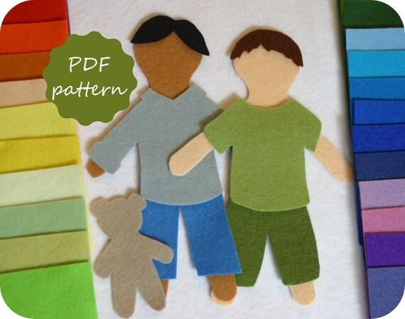 Elliott felt paper doll pattern digital pdf for flannel board for Felt dress up doll template