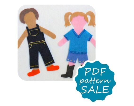 Matilda and Elliott Felt Paper Doll Pdf Patterns for Flannel Board - Instant Download