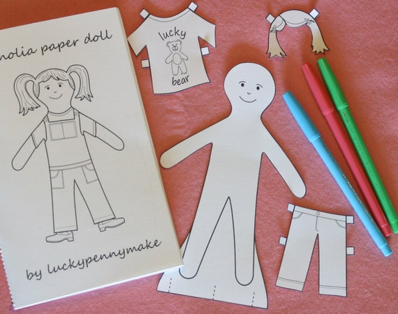 Magnolia Paper Doll Coloring Book Printable PDF Pattern - Instant Download