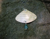Recycled Cymbal Leaf Pendant, with teal green and light blue beads