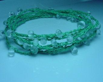 Crochet beaded multi strand bracelet, light green