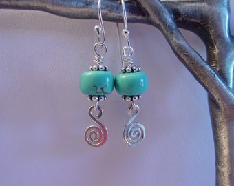 Turquoise swirl earrings