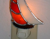 stained glass Sailboat nite Light with FREE shipping