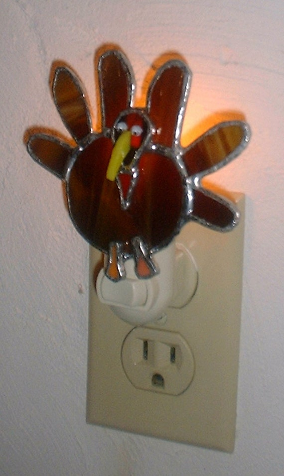 stained glass thanksgiving turkey night light with free