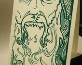 YULE SALE- Old Man Winter Yule card original linocut -SALE