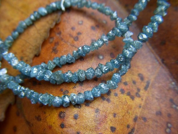 Rough Blue Diamonds - Half Strand - 1.75 to 2.75mm - 8 Inches - RESERVED for M